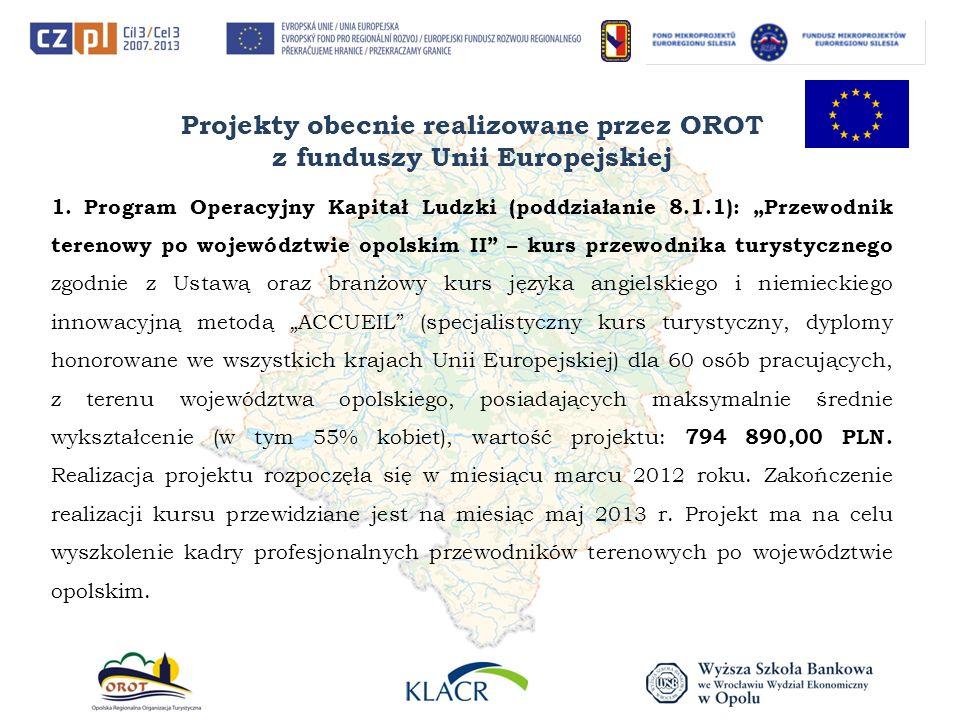 Projekty obecnie realizowane przez OROT z funduszy Unii Europejskiej