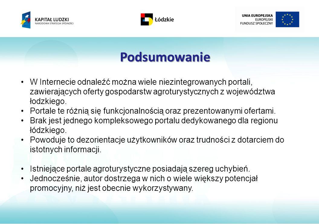 Podsumowanie W Internecie odnaleźć można wiele niezintegrowanych portali, zawierających oferty gospodarstw agroturystycznych z województwa łodzkiego.