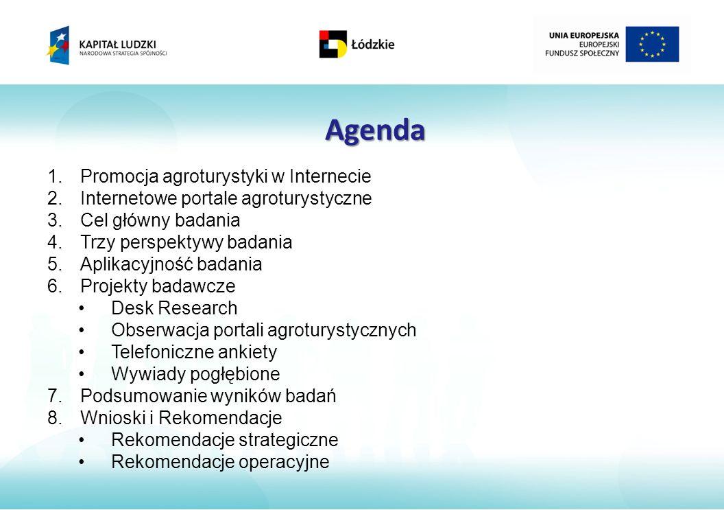 Agenda Promocja agroturystyki w Internecie