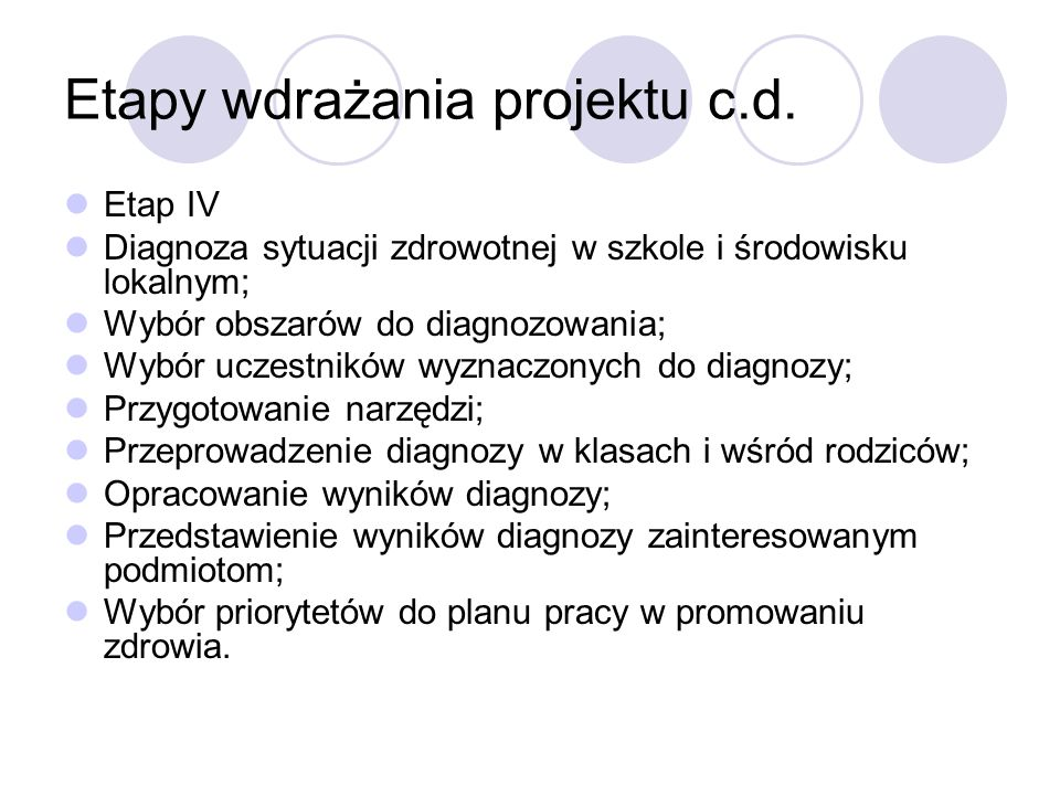 Etapy wdrażania projektu c.d.