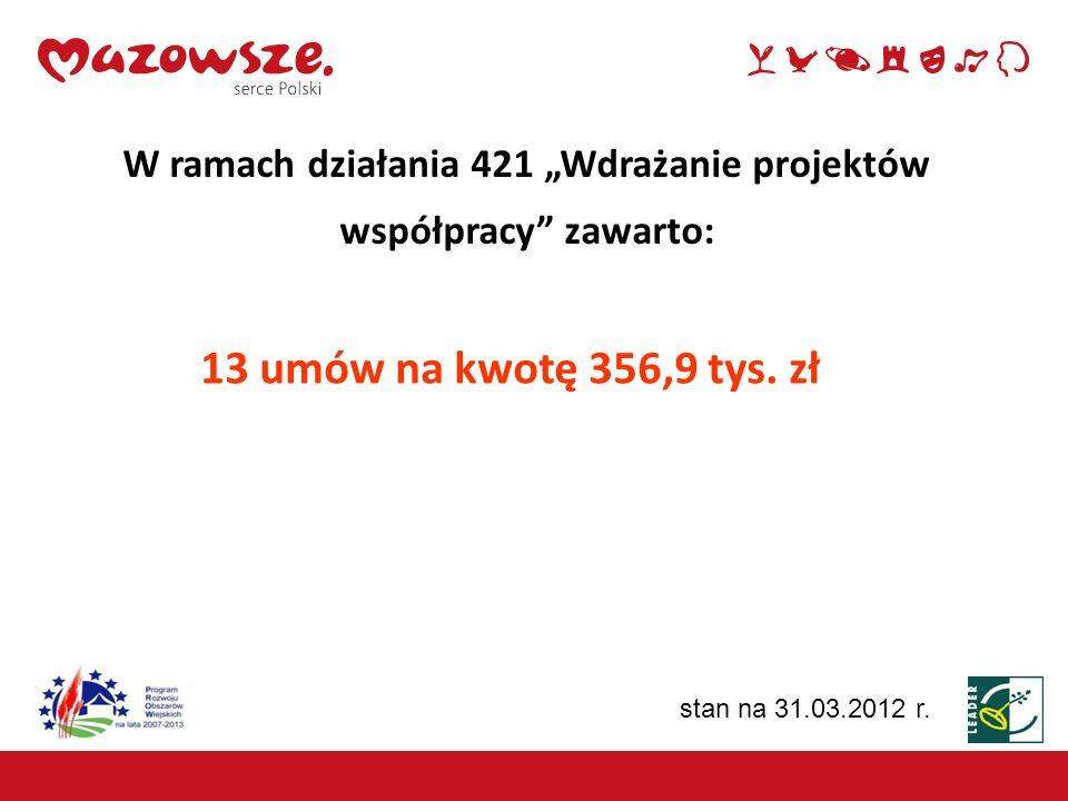 """W ramach działania 421 """"Wdrażanie projektów współpracy zawarto:"""