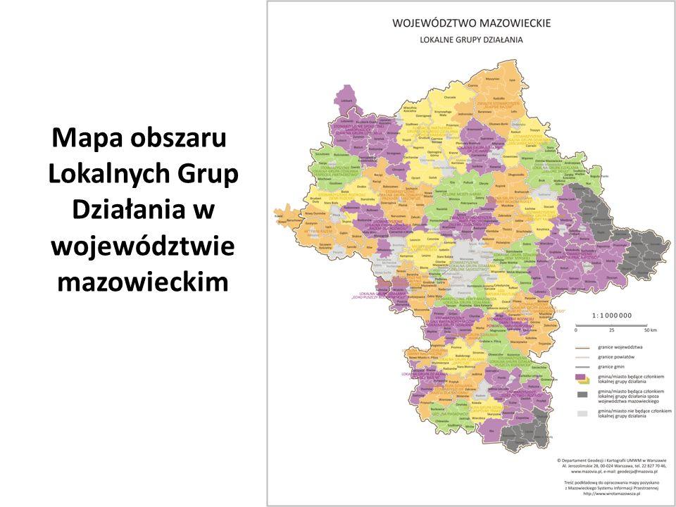 Mapa obszaru Lokalnych Grup Działania w województwie mazowieckim