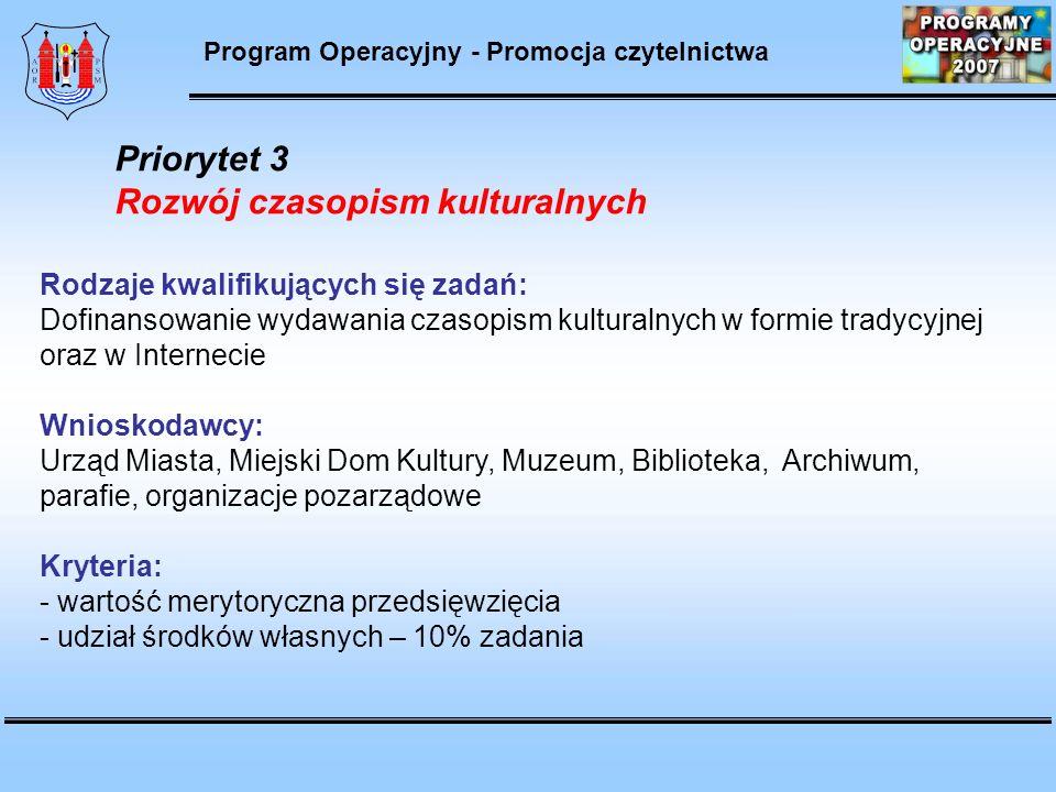 Program Operacyjny - Promocja czytelnictwa