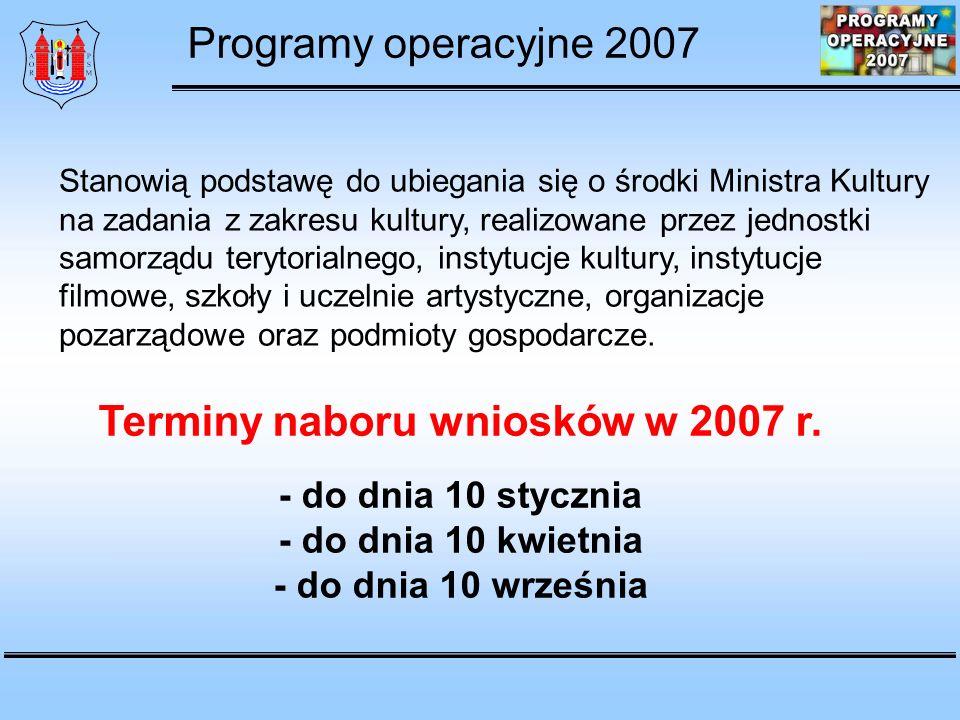 Terminy naboru wniosków w 2007 r.
