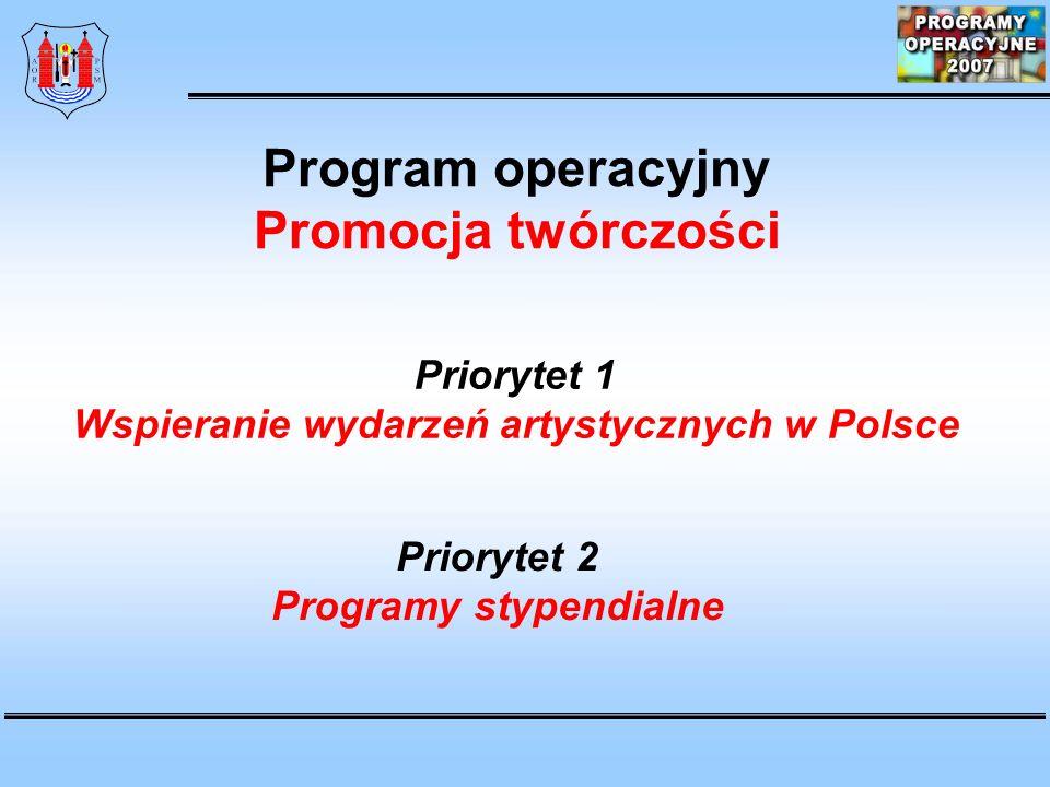 Wspieranie wydarzeń artystycznych w Polsce Programy stypendialne
