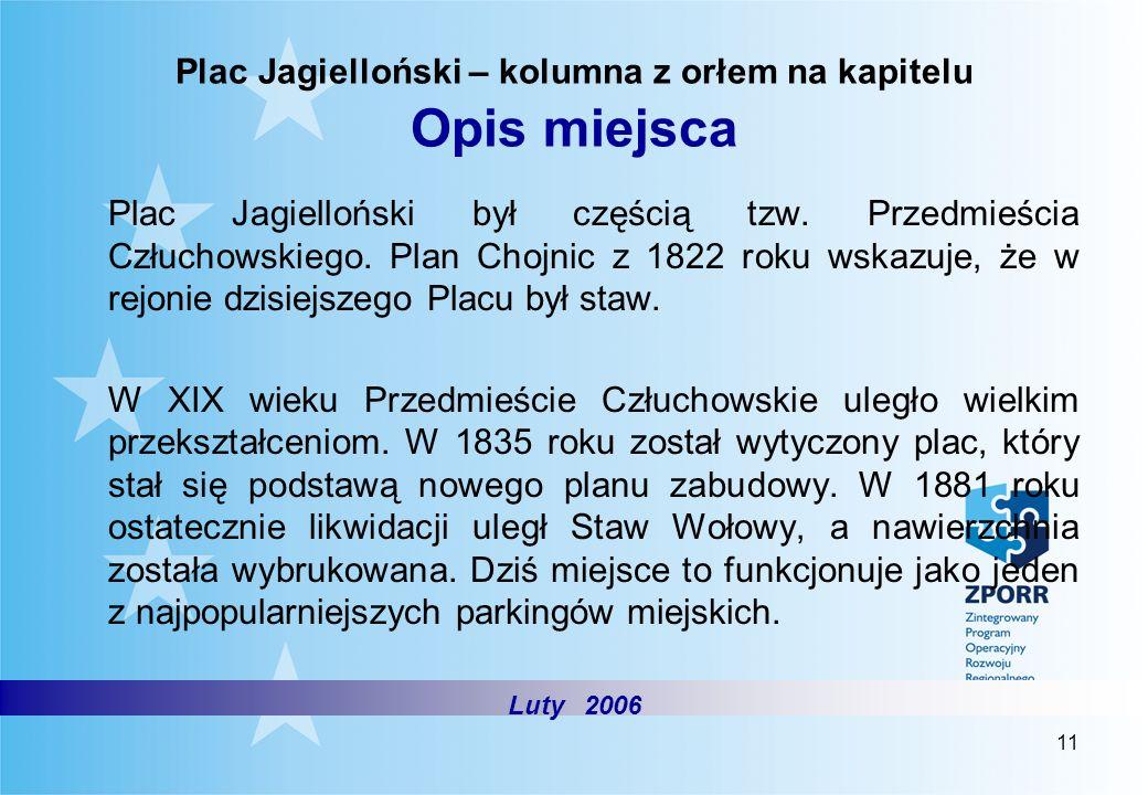 Plac Jagielloński – kolumna z orłem na kapitelu Opis miejsca