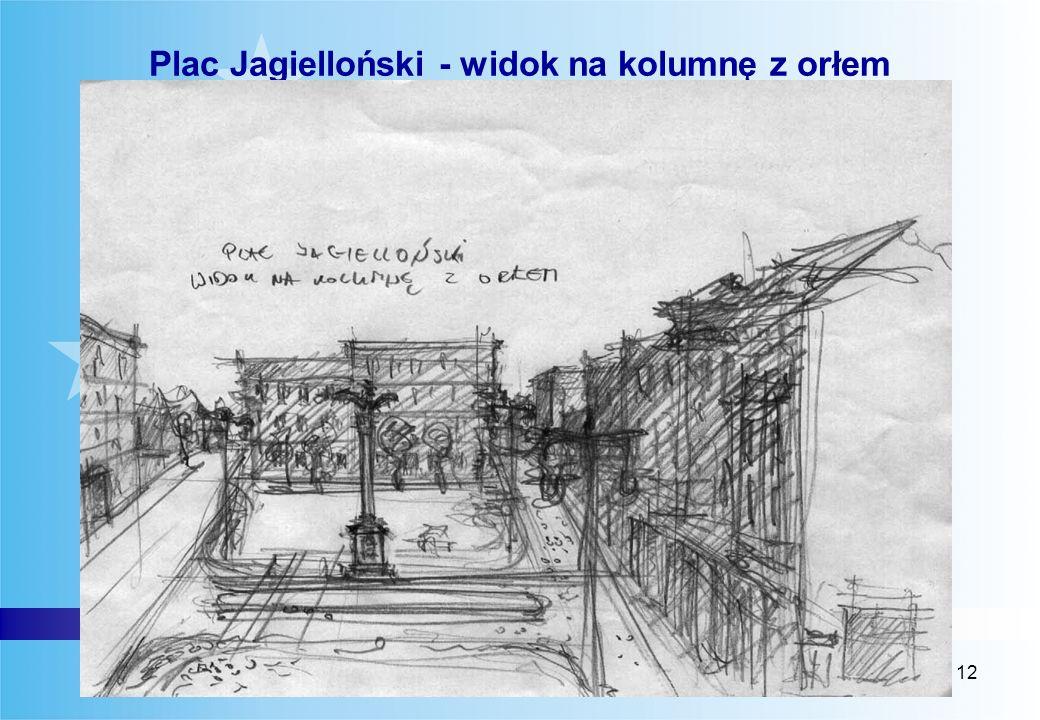 Plac Jagielloński - widok na kolumnę z orłem