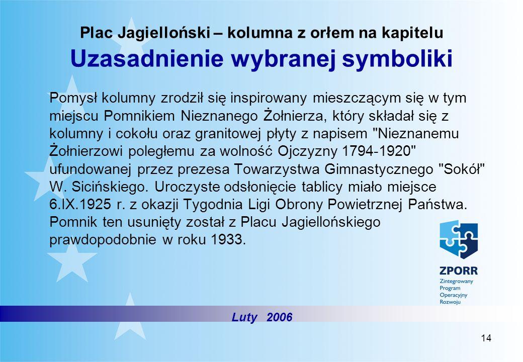 Plac Jagielloński – kolumna z orłem na kapitelu Uzasadnienie wybranej symboliki