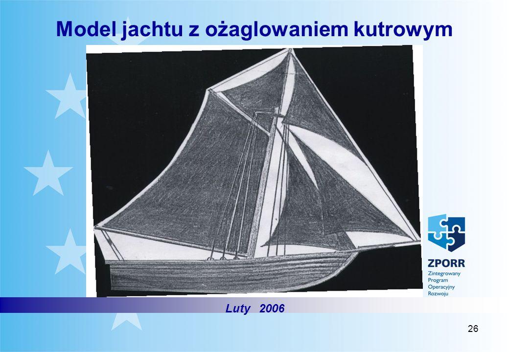 Model jachtu z ożaglowaniem kutrowym