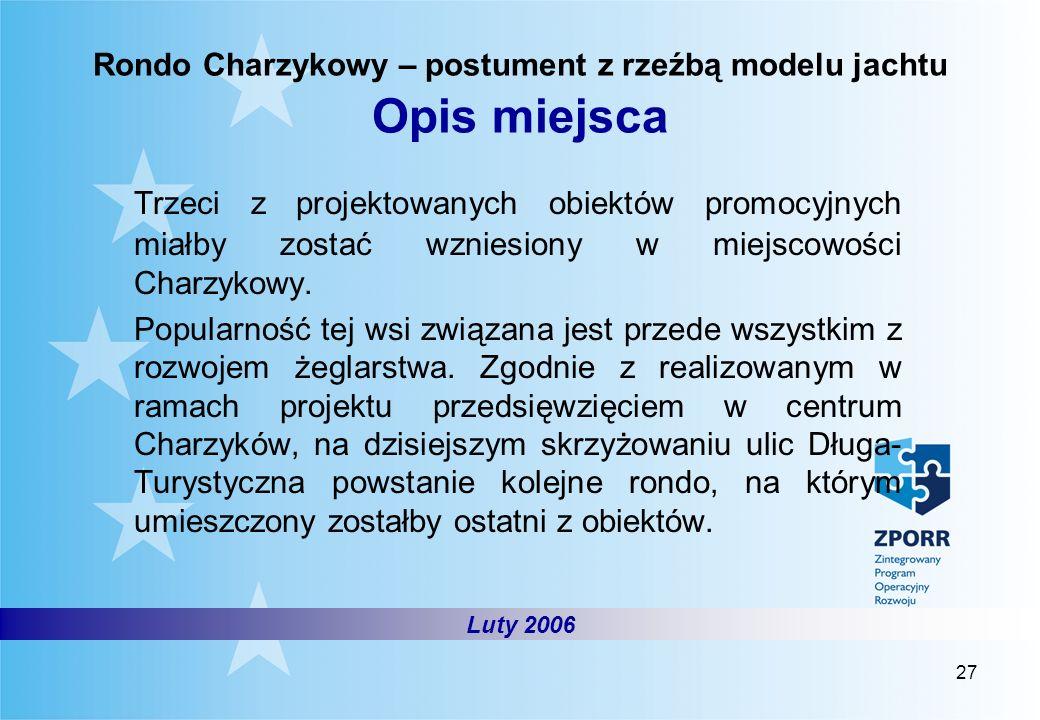 Rondo Charzykowy – postument z rzeźbą modelu jachtu Opis miejsca