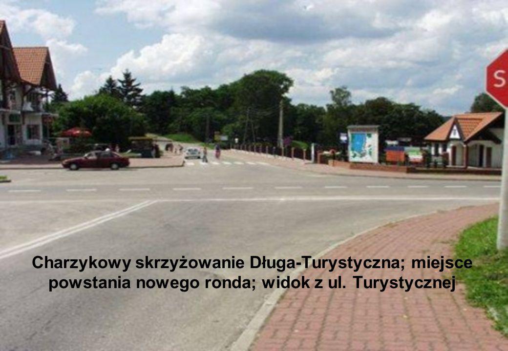 Charzykowy skrzyżowanie Długa-Turystyczna; miejsce powstania nowego ronda; widok z ul. Turystycznej