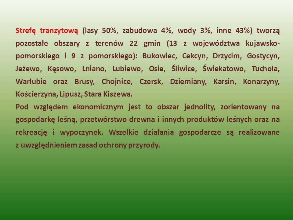 Strefę tranzytową (lasy 50%, zabudowa 4%, wody 3%, inne 43%) tworzą pozostałe obszary z terenów 22 gmin (13 z województwa kujawsko-pomorskiego i 9 z pomorskiego): Bukowiec, Cekcyn, Drzycim, Gostycyn, Jeżewo, Kęsowo, Lniano, Lubiewo, Osie, Śliwice, Świekatowo, Tuchola, Warlubie oraz Brusy, Chojnice, Czersk, Dziemiany, Karsin, Konarzyny, Kościerzyna, Lipusz, Stara Kiszewa.