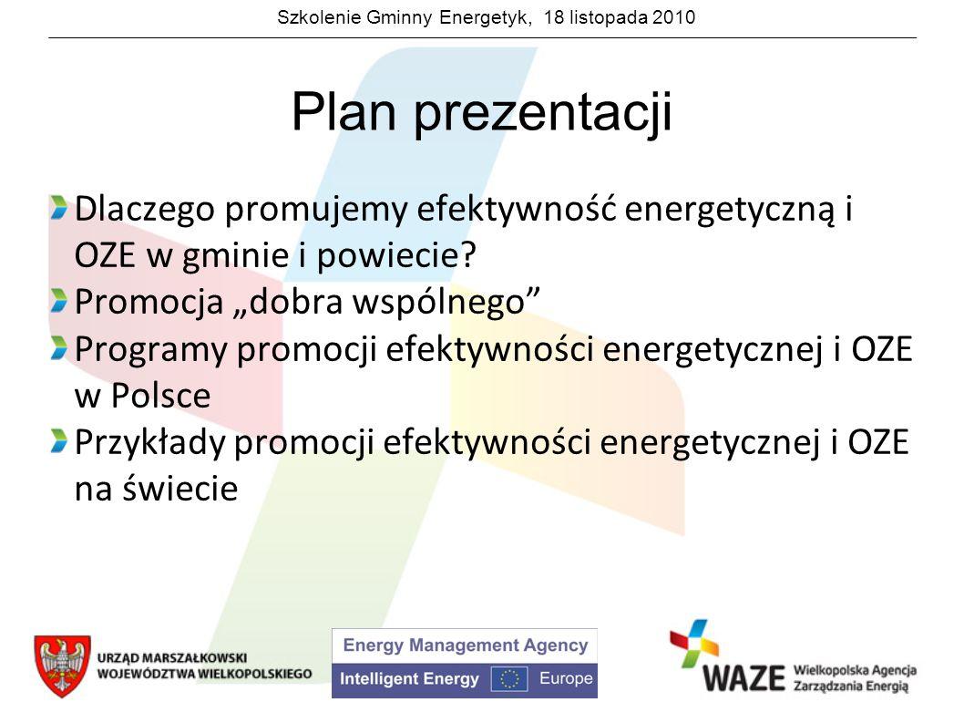 """Plan prezentacji Dlaczego promujemy efektywność energetyczną i OZE w gminie i powiecie Promocja """"dobra wspólnego"""