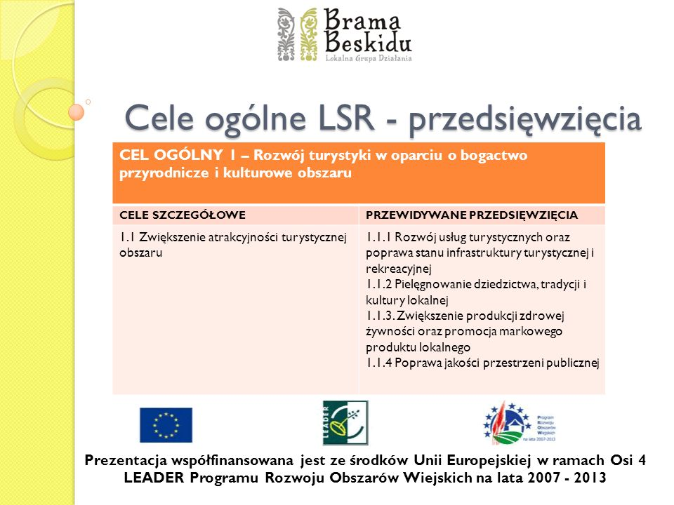 Cele ogólne LSR - przedsięwzięcia