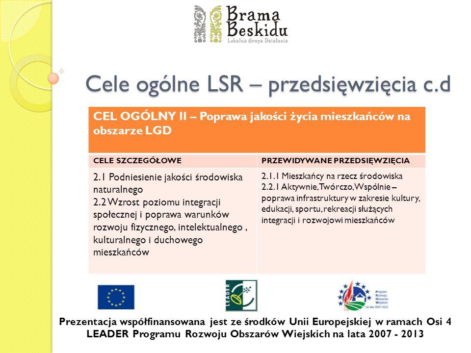 Cele ogólne LSR – przedsięwzięcia c.d