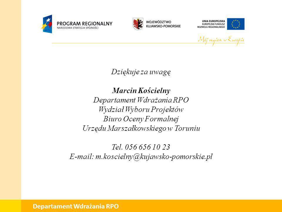 Departament Wdrażania RPO Wydział Wyboru Projektów