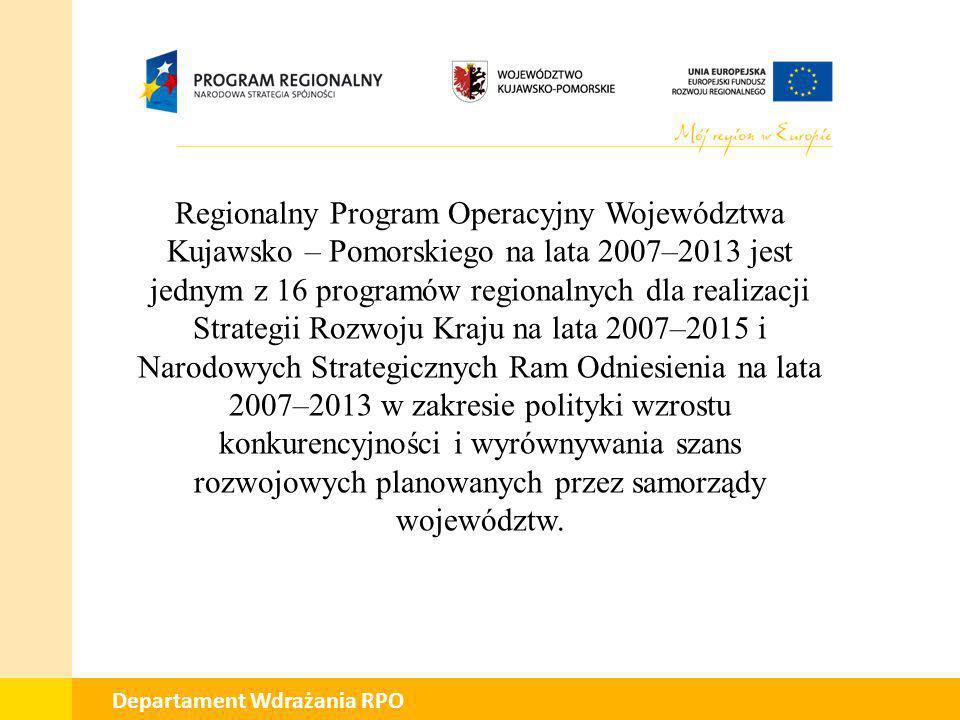Regionalny Program Operacyjny Województwa Kujawsko – Pomorskiego na lata 2007–2013 jest jednym z 16 programów regionalnych dla realizacji Strategii Rozwoju Kraju na lata 2007–2015 i Narodowych Strategicznych Ram Odniesienia na lata 2007–2013 w zakresie polityki wzrostu konkurencyjności i wyrównywania szans rozwojowych planowanych przez samorządy województw.