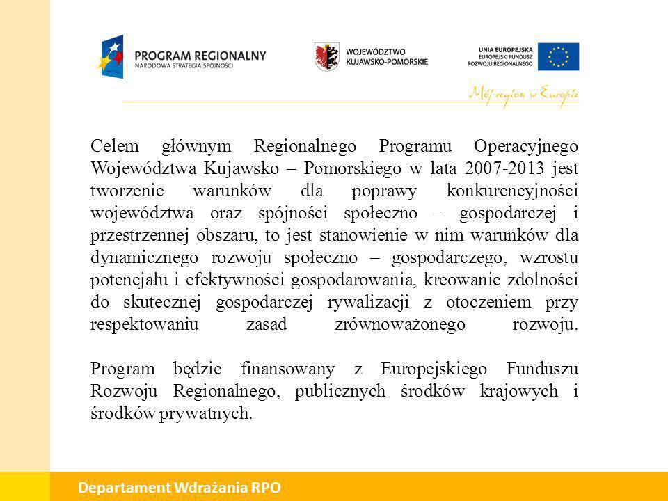 Celem głównym Regionalnego Programu Operacyjnego Województwa Kujawsko – Pomorskiego w lata 2007-2013 jest tworzenie warunków dla poprawy konkurencyjności województwa oraz spójności społeczno – gospodarczej i przestrzennej obszaru, to jest stanowienie w nim warunków dla dynamicznego rozwoju społeczno – gospodarczego, wzrostu potencjału i efektywności gospodarowania, kreowanie zdolności do skutecznej gospodarczej rywalizacji z otoczeniem przy respektowaniu zasad zrównoważonego rozwoju.