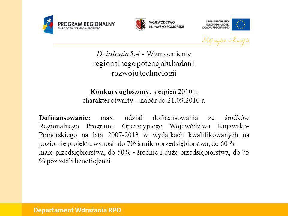 Działanie 5.4 - Wzmocnienie regionalnego potencjału badań i