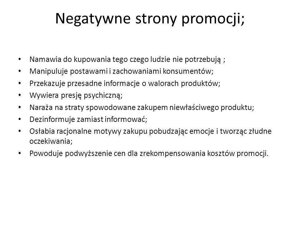 Negatywne strony promocji;