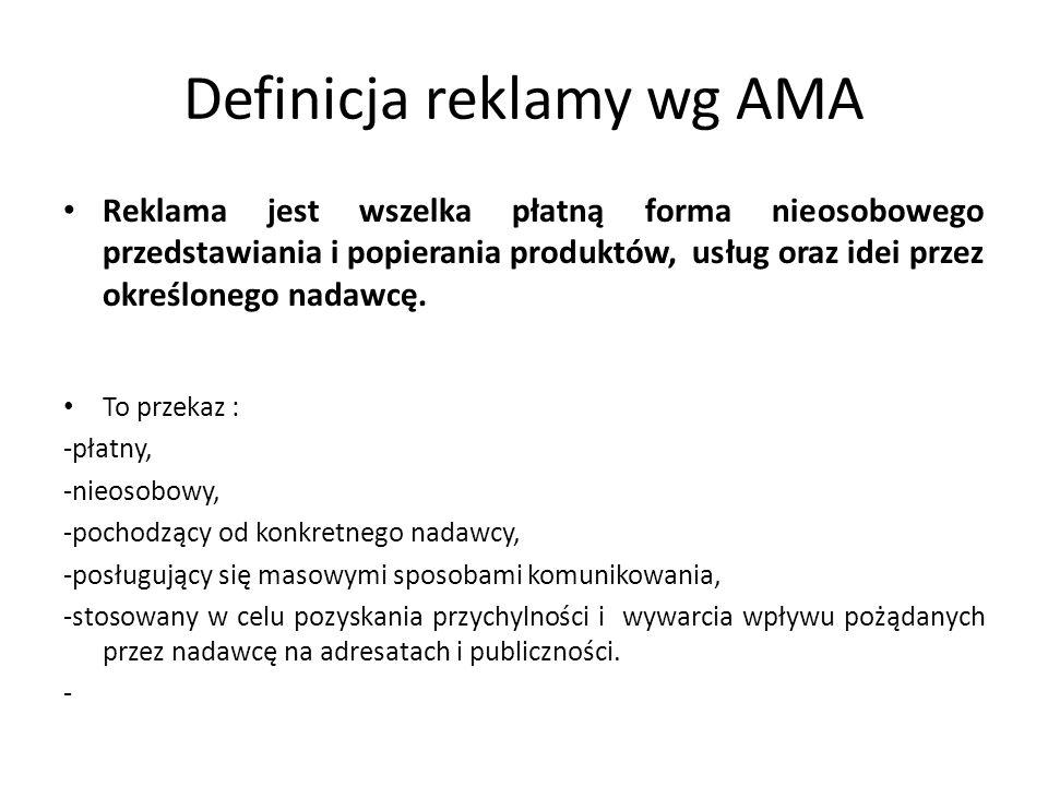 Definicja reklamy wg AMA
