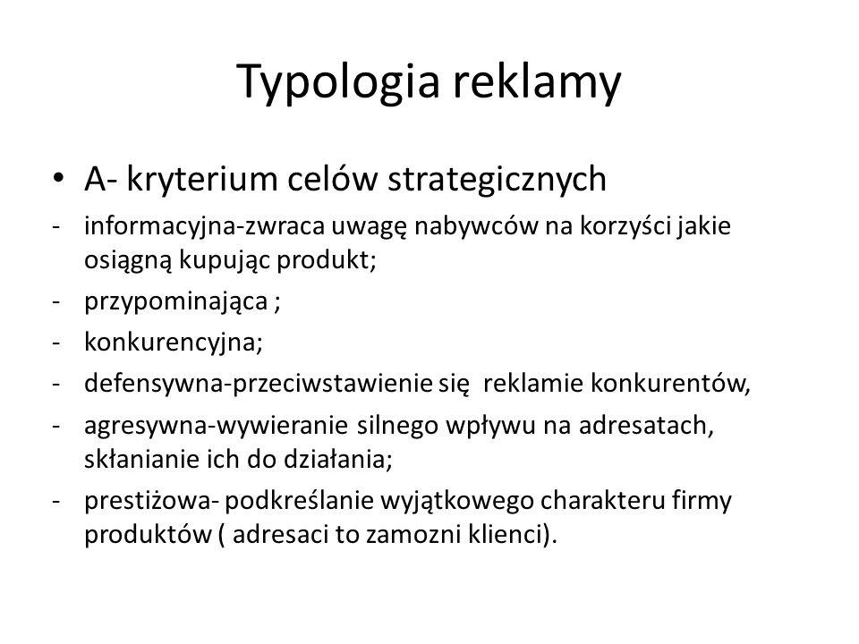 Typologia reklamy A- kryterium celów strategicznych