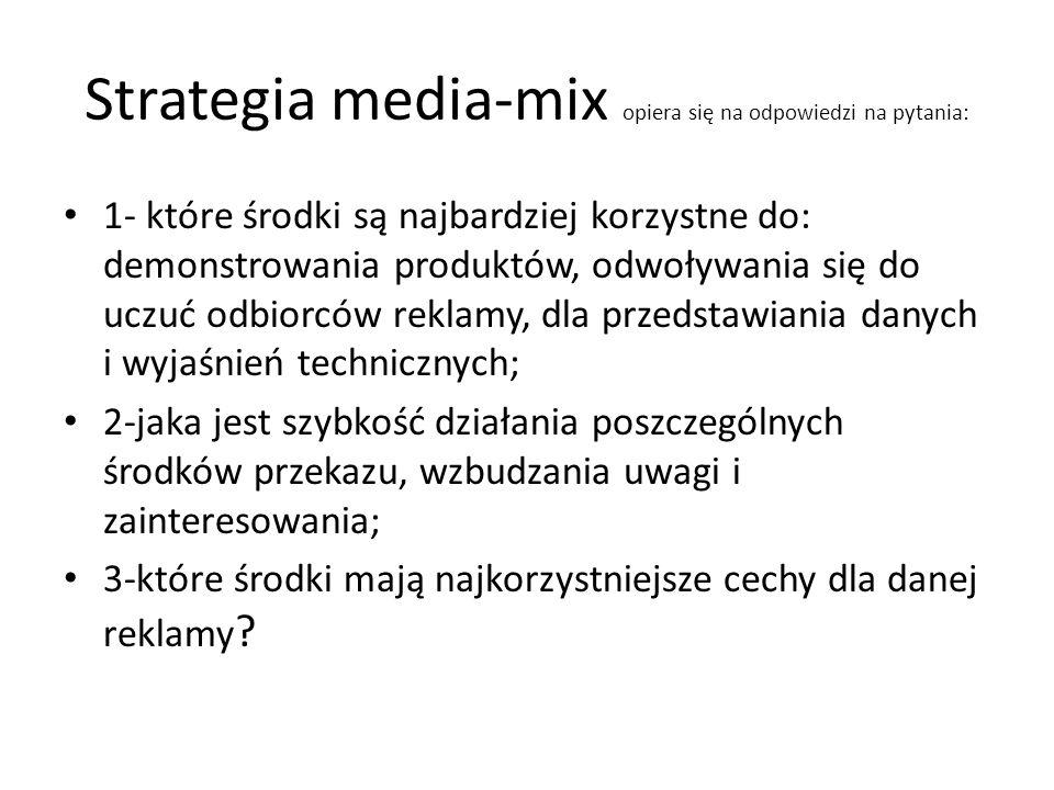 Strategia media-mix opiera się na odpowiedzi na pytania: