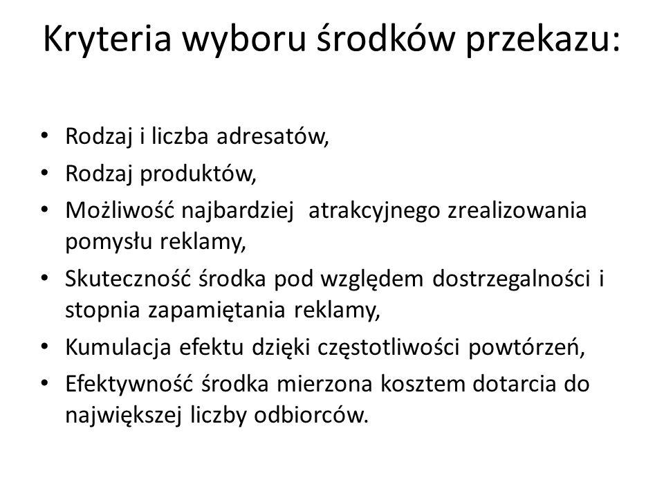 Kryteria wyboru środków przekazu: