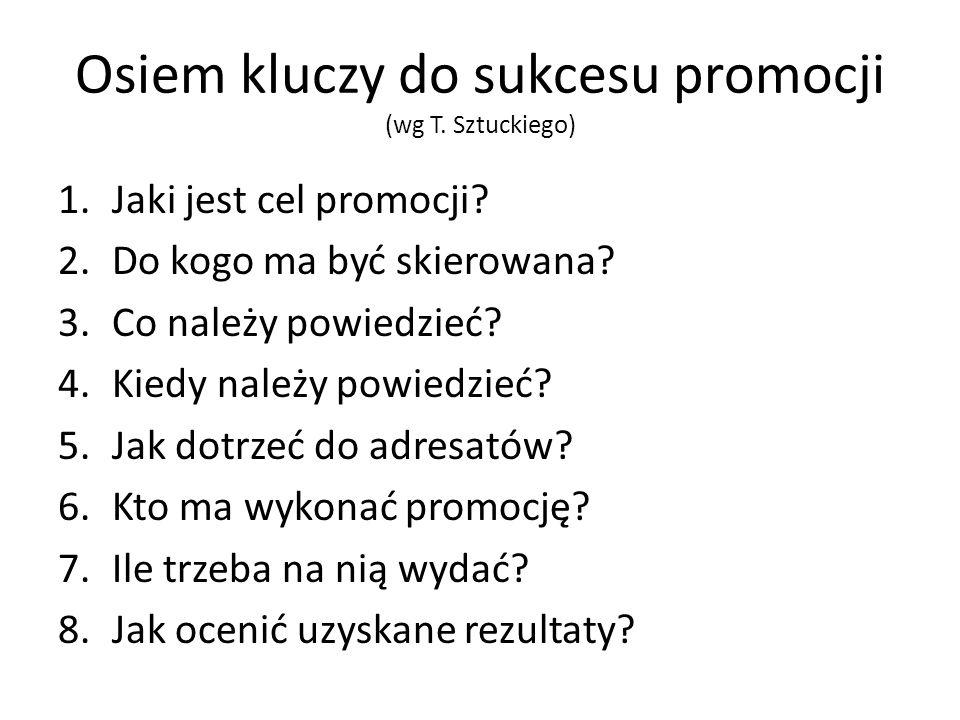 Osiem kluczy do sukcesu promocji (wg T. Sztuckiego)