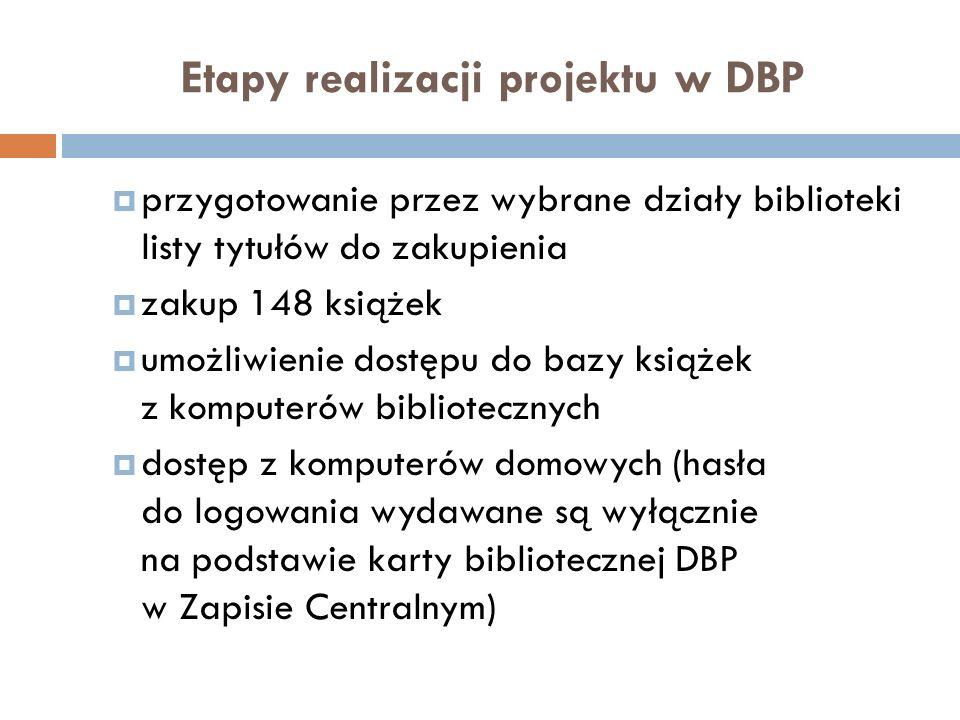 Etapy realizacji projektu w DBP