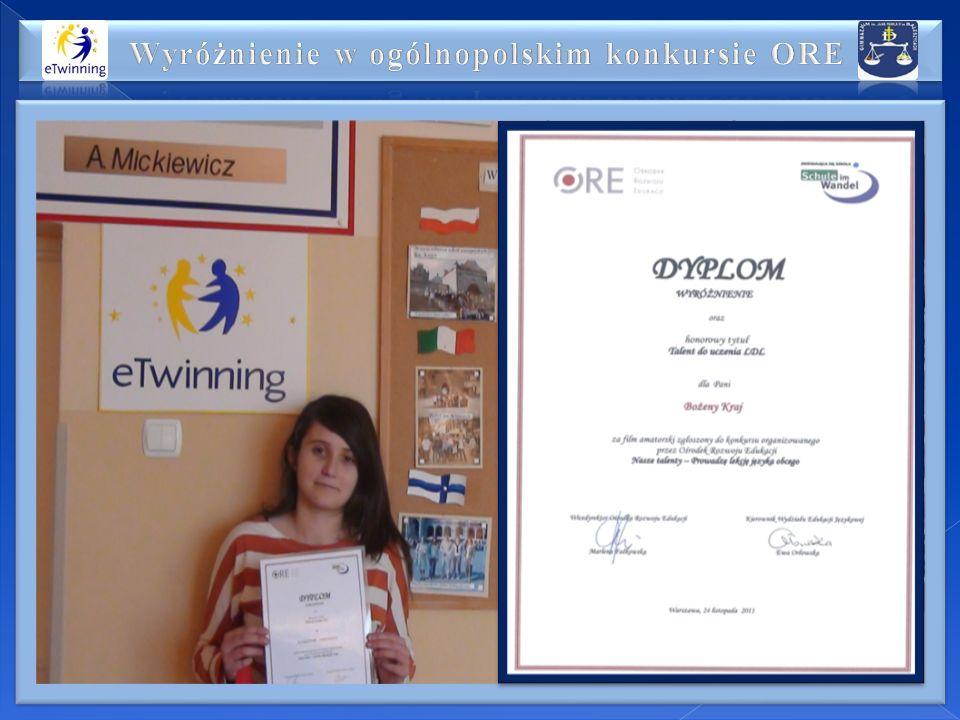 Wyróżnienie w ogólnopolskim konkursie ORE