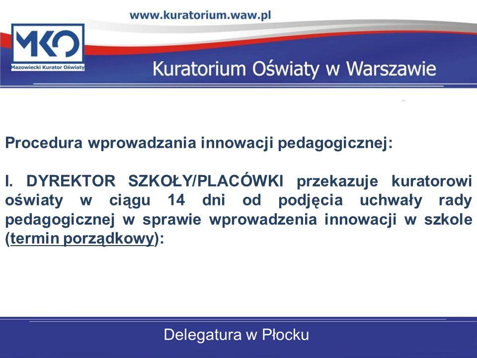 Procedura wprowadzania innowacji pedagogicznej: