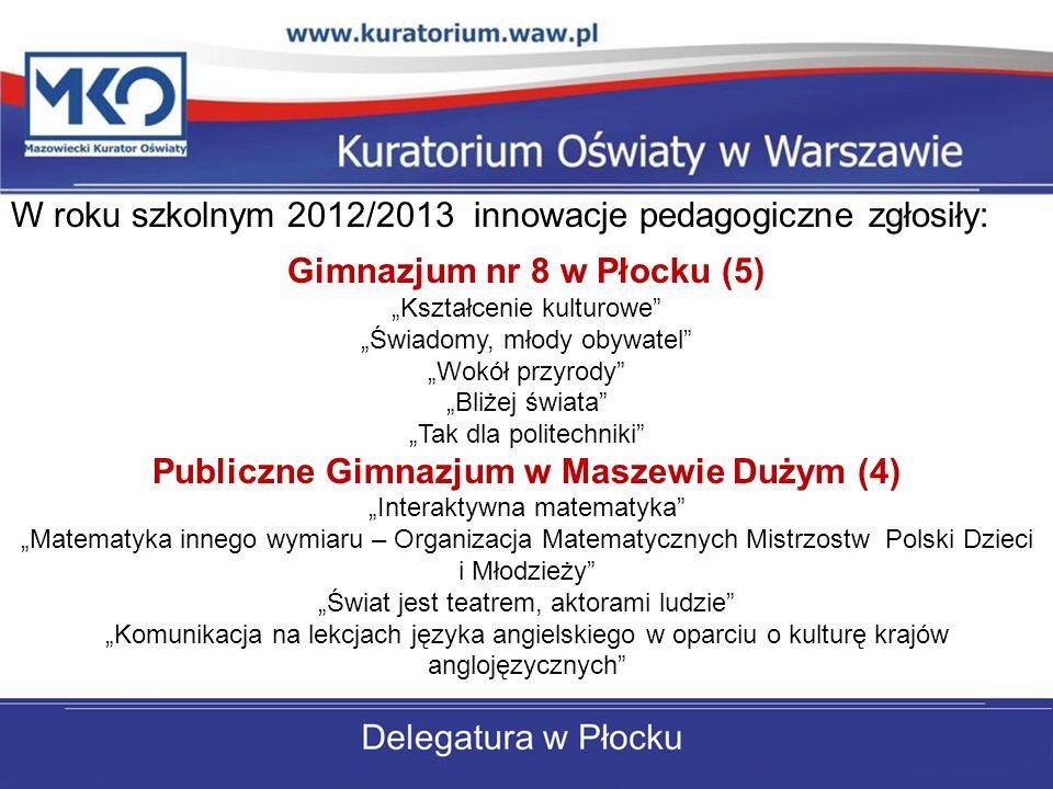 Gimnazjum nr 8 w Płocku (5) Publiczne Gimnazjum w Maszewie Dużym (4)
