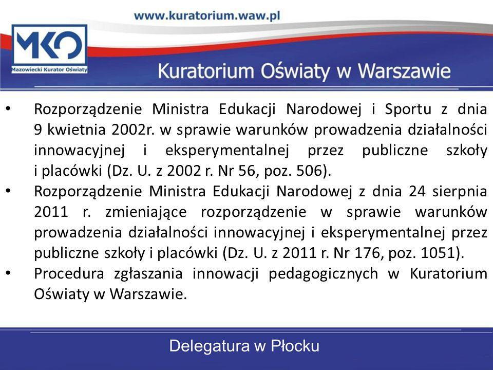 Rozporządzenie Ministra Edukacji Narodowej i Sportu z dnia 9 kwietnia 2002r. w sprawie warunków prowadzenia działalności innowacyjnej i eksperymentalnej przez publiczne szkoły i placówki (Dz. U. z 2002 r. Nr 56, poz. 506).