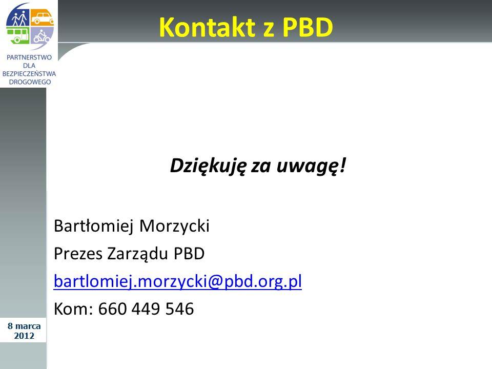 Kontakt z PBD Dziękuję za uwagę! Bartłomiej Morzycki