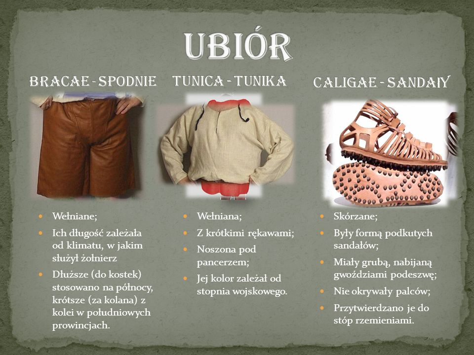 UBIÓR BRACAE - Spodnie Caligae - sandały TUNICA - tunika Wełniane;