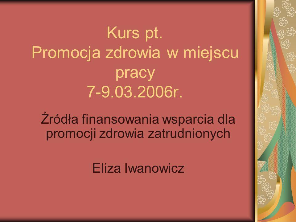Kurs pt. Promocja zdrowia w miejscu pracy 7-9.03.2006r.
