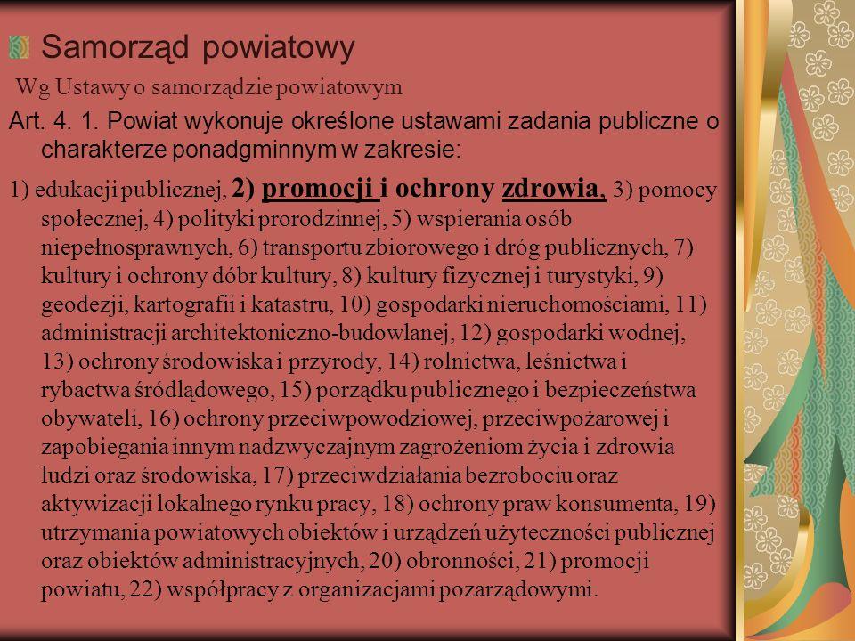 Samorząd powiatowy Wg Ustawy o samorządzie powiatowym