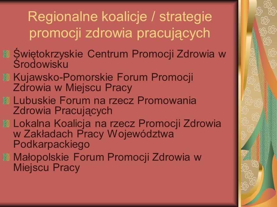 Regionalne koalicje / strategie promocji zdrowia pracujących