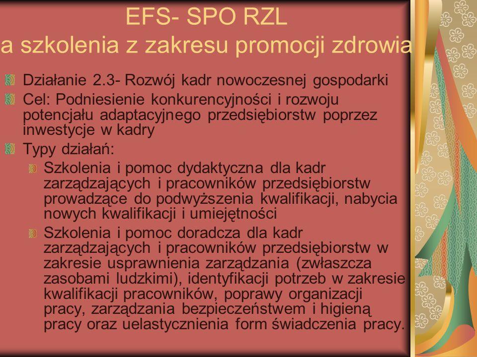 EFS- SPO RZL a szkolenia z zakresu promocji zdrowia