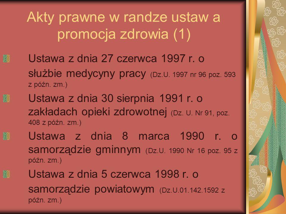 Akty prawne w randze ustaw a promocja zdrowia (1)