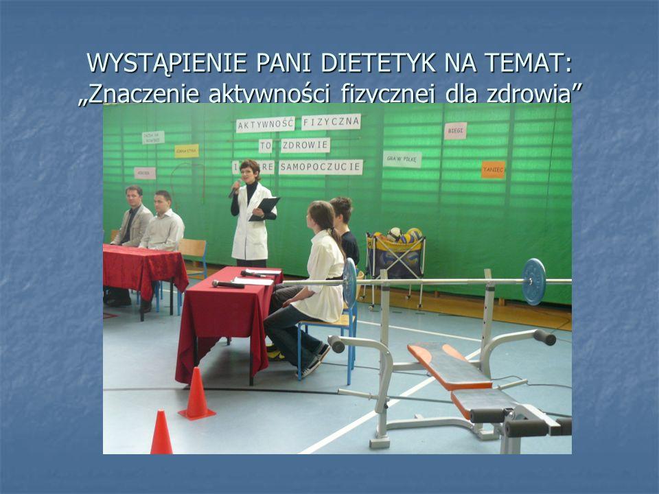 """WYSTĄPIENIE PANI DIETETYK NA TEMAT: """"Znaczenie aktywności fizycznej dla zdrowia"""