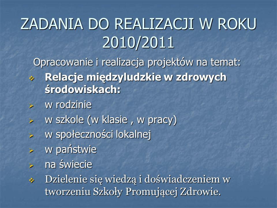 ZADANIA DO REALIZACJI W ROKU 2010/2011
