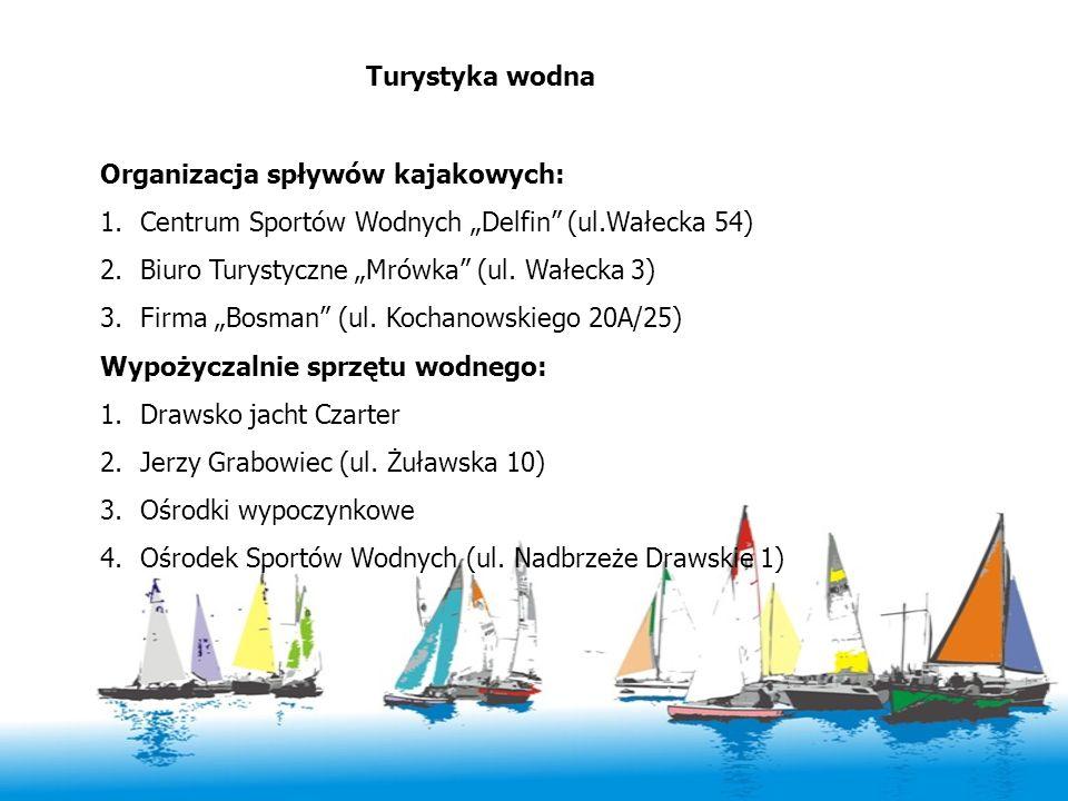 """Turystyka wodna Organizacja spływów kajakowych: Centrum Sportów Wodnych """"Delfin (ul.Wałecka 54) Biuro Turystyczne """"Mrówka (ul. Wałecka 3)"""
