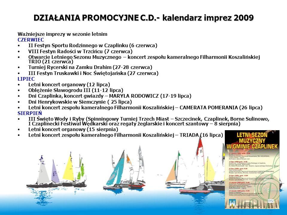 DZIAŁANIA PROMOCYJNE C.D.- kalendarz imprez 2009