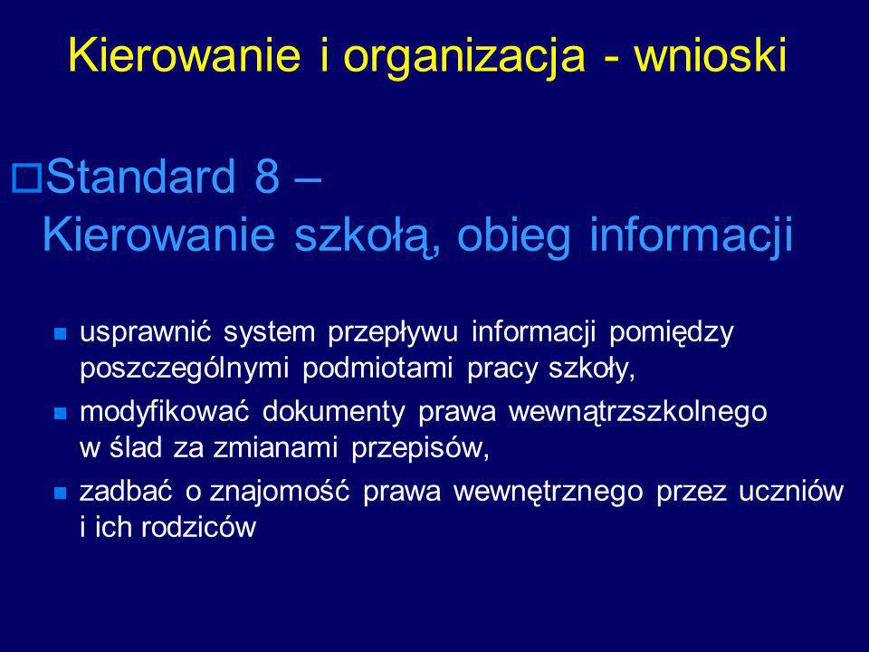 Kierowanie i organizacja - wnioski