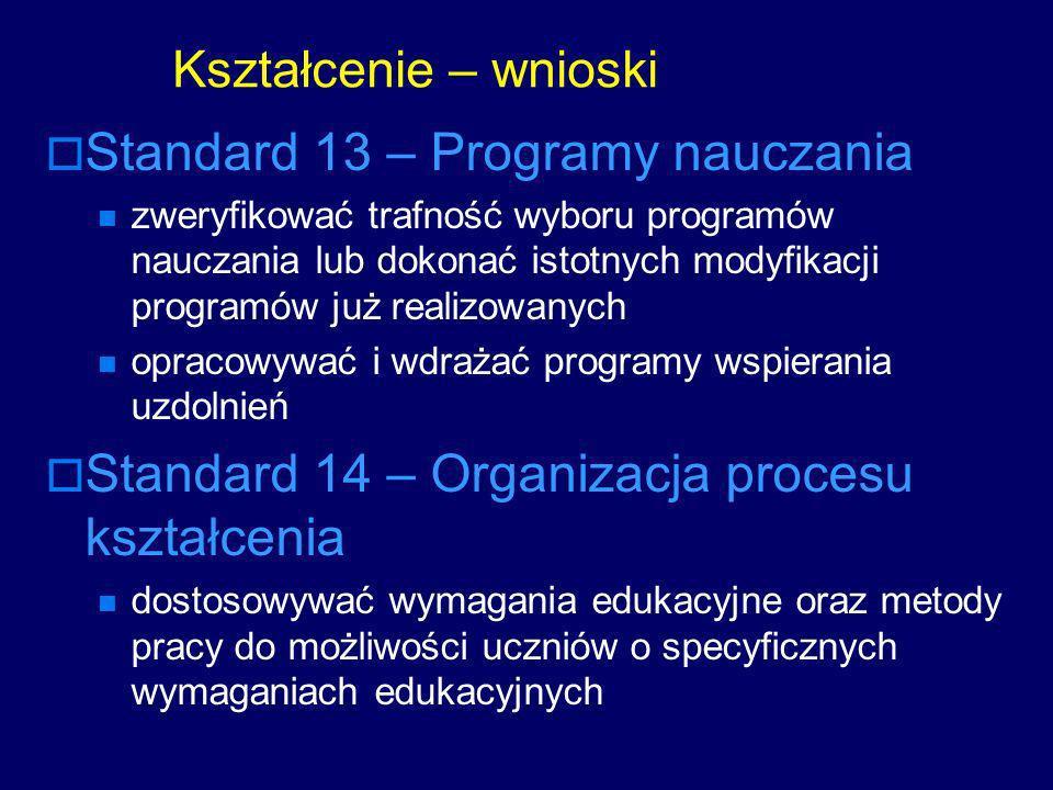 Standard 13 – Programy nauczania