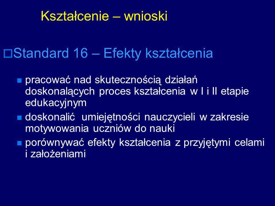 Standard 16 – Efekty kształcenia