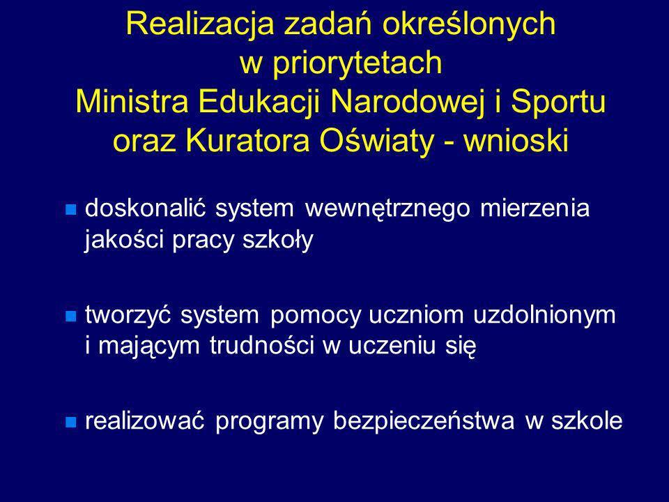 Realizacja zadań określonych w priorytetach Ministra Edukacji Narodowej i Sportu oraz Kuratora Oświaty - wnioski