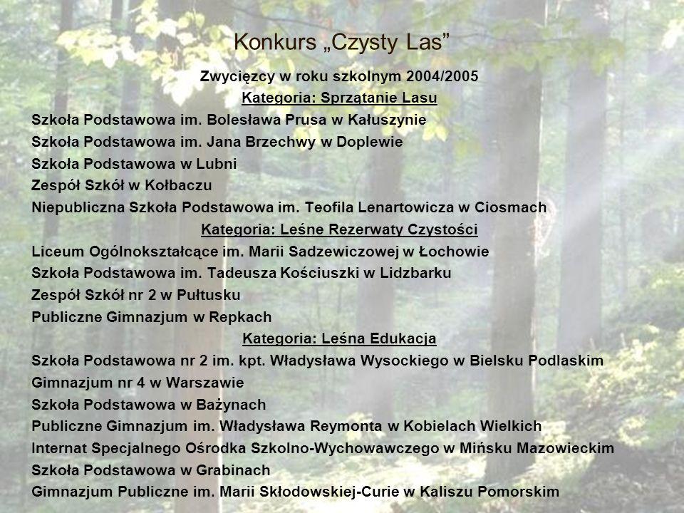 """Konkurs """"Czysty Las Zwycięzcy w roku szkolnym 2004/2005"""